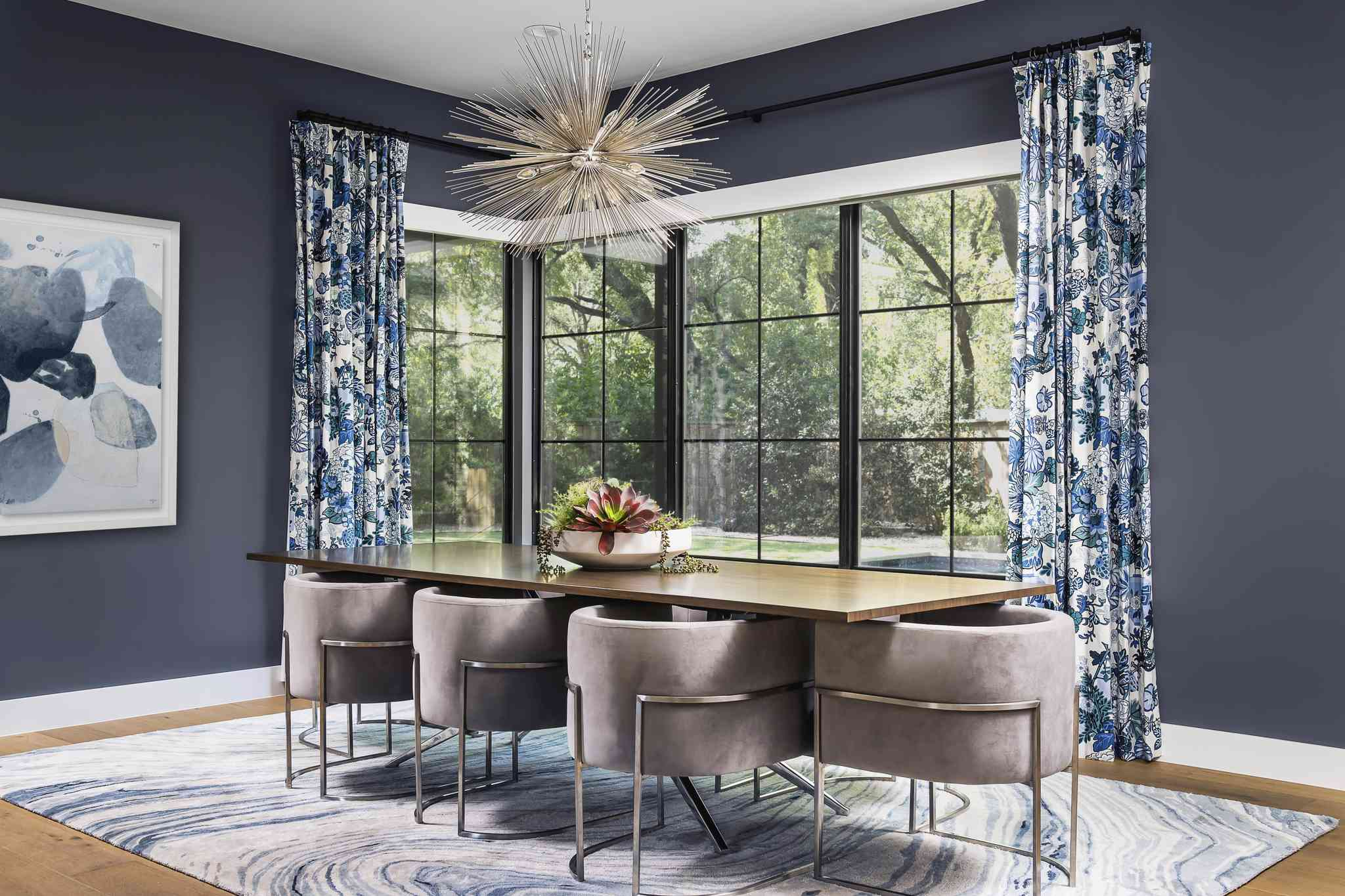 blue and purple dining room