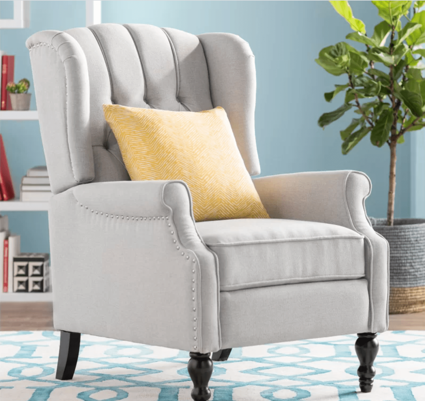 Andover Mills Leonie 35-Inch Wide Faux Leather Wing Chair Recliner in grey