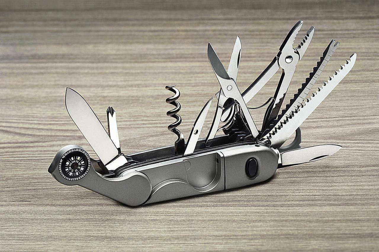 A multi-purpose knife with all tools opened