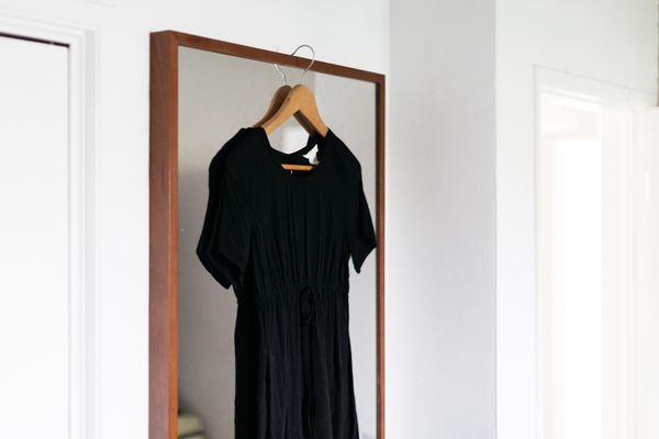 black dress on a hanger