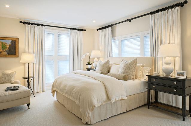 Traditional White Linen Bedroom