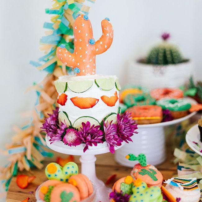 Southwestern-themed food spread