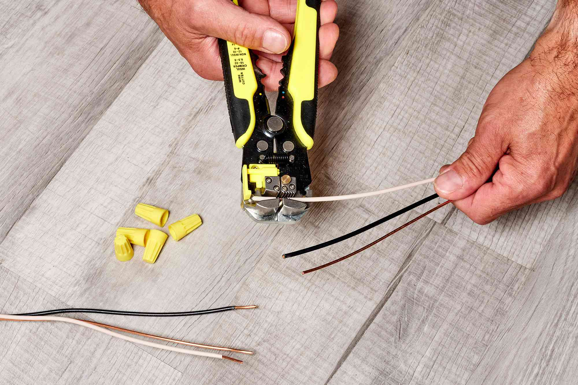 Wire insulation stripped 1/2 to 3/4 inch on ends with wire strippers
