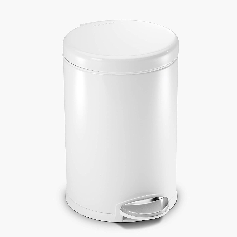simplehuman White 1.2 gal. Round Step Trash Can