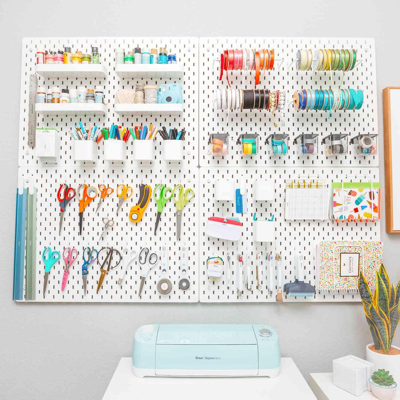 craft organization using ikea pegboard
