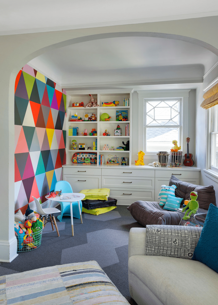 Multicolor Mural Living Room Accent Wall