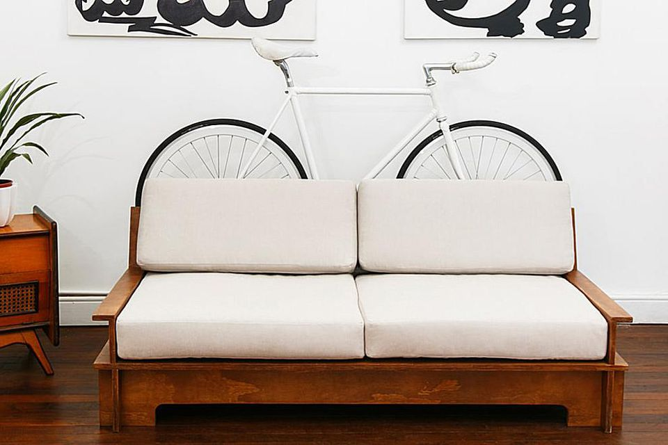 bike rack behind couch