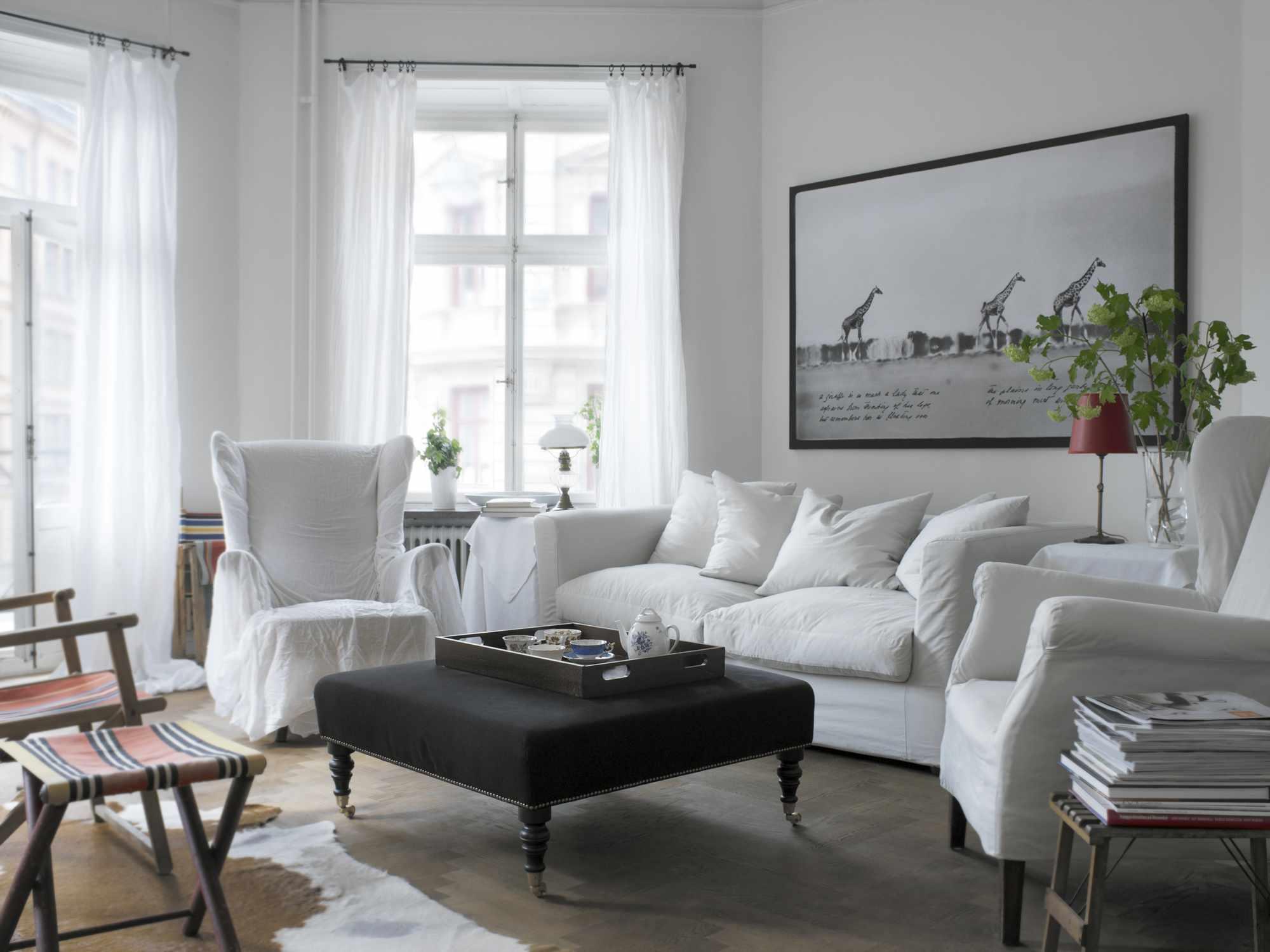 Cozy slipcovered living room furniture