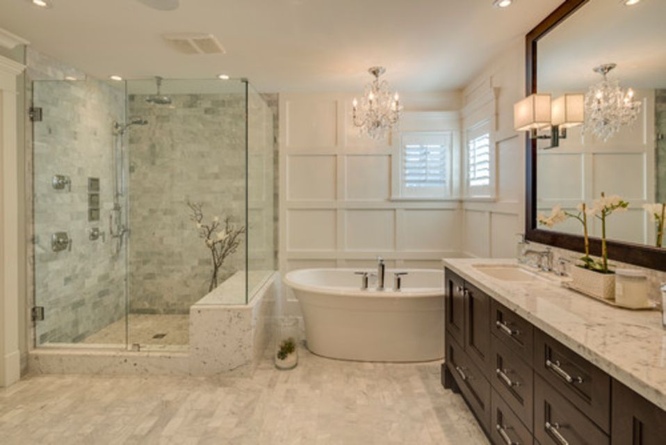 traditional bathroom with square edge countertop