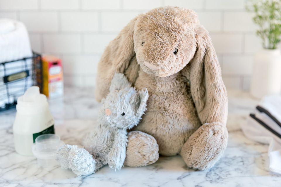 stuffed animals and washing supplies