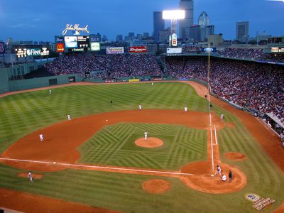 Elevated view of Fenway Park with checkerboard pattern mowed into grass