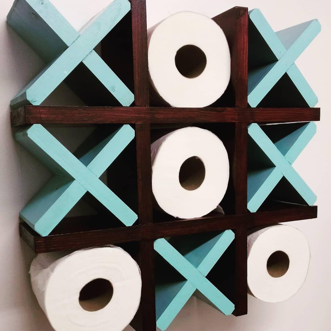 soporte para papel higiénico de bricolaje con tac toe