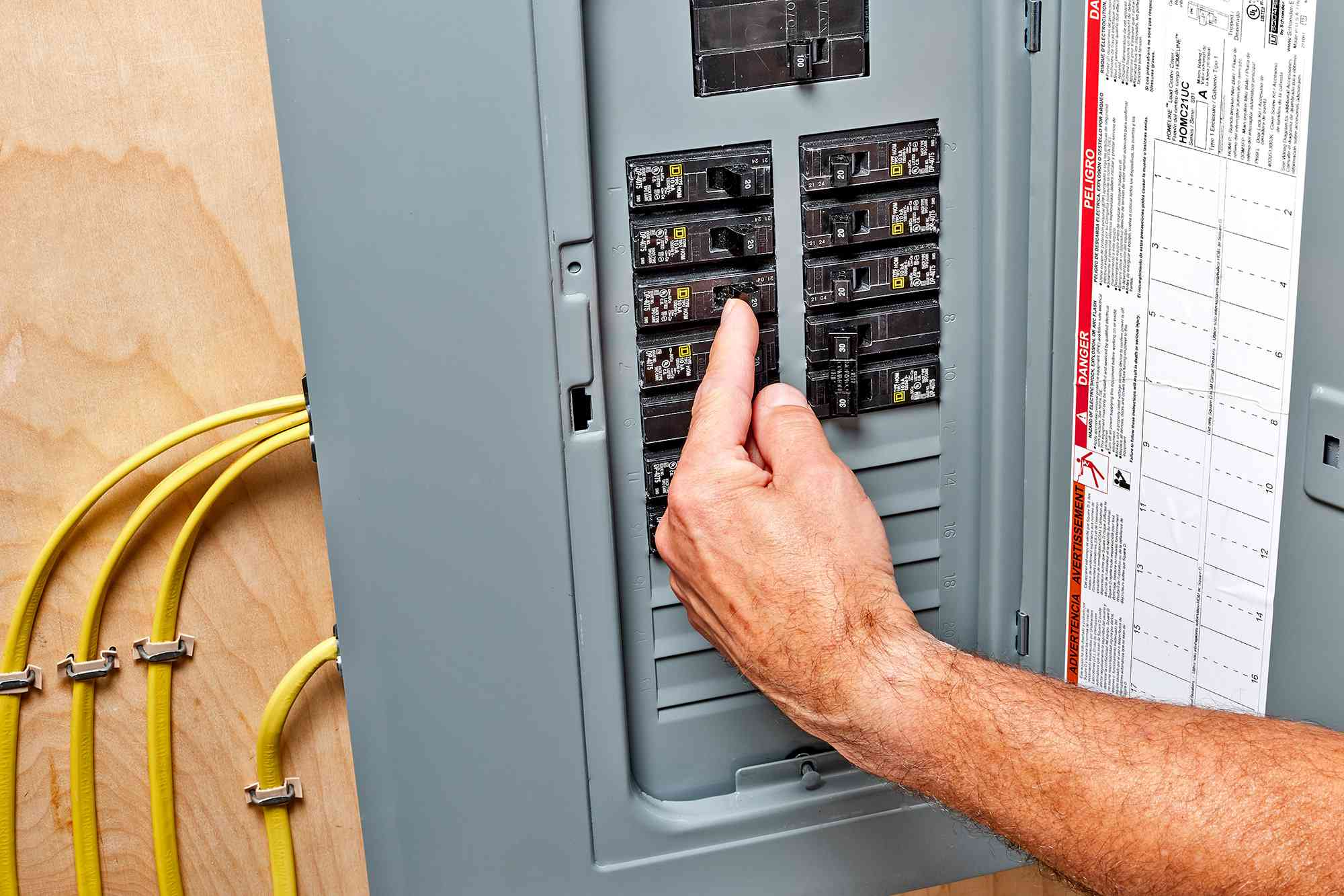 Circuit breaker switch turned on to restore power