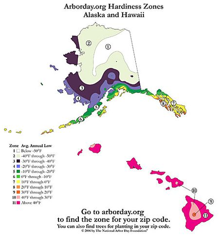 Usda Plant Hardiness Zone Map For Alaska And Hawaii