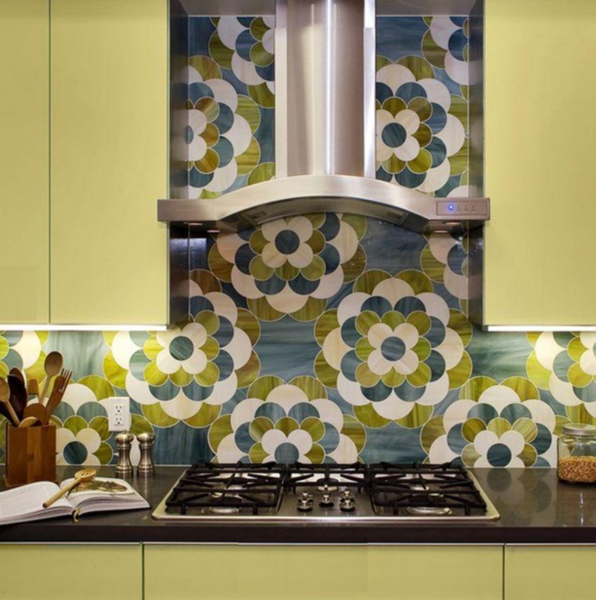 Blue and green flower pattern kitchen backsplash tile
