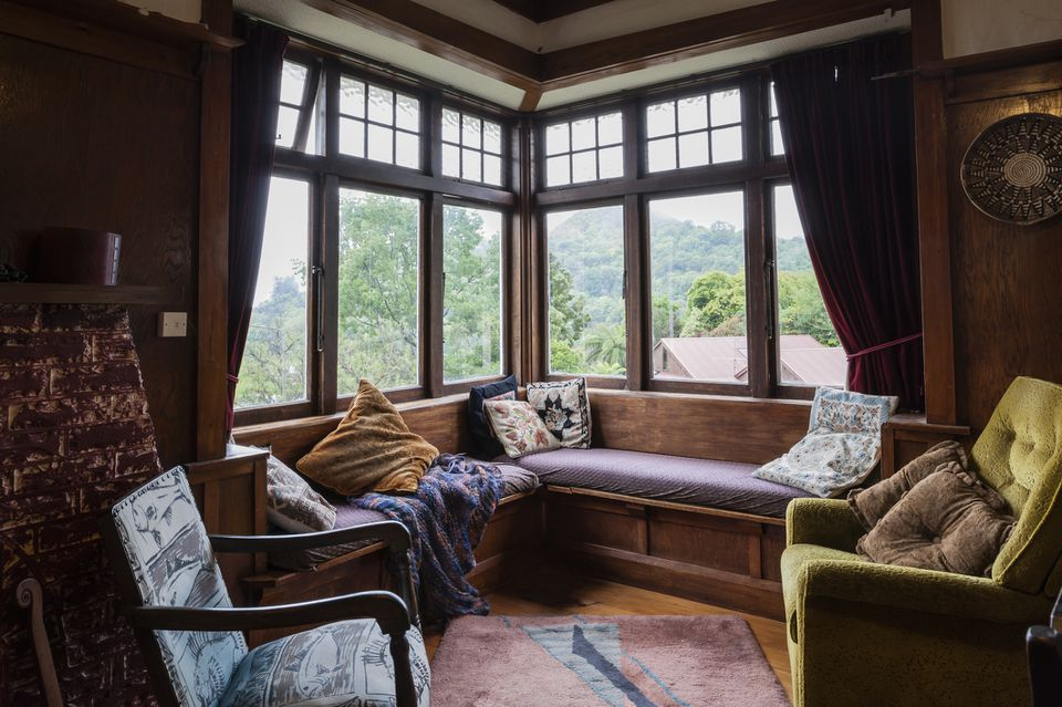 Cozy living room window seat
