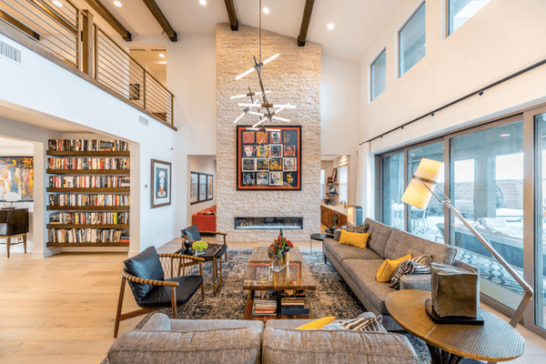 great room with large bookshelves