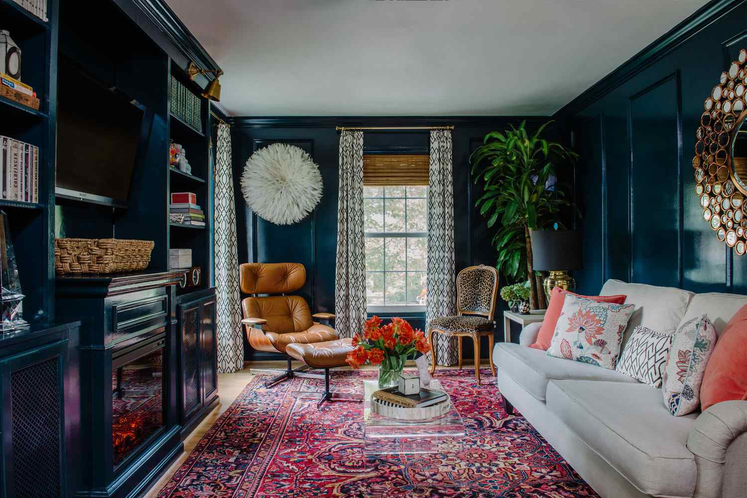 moody living room with bright colors