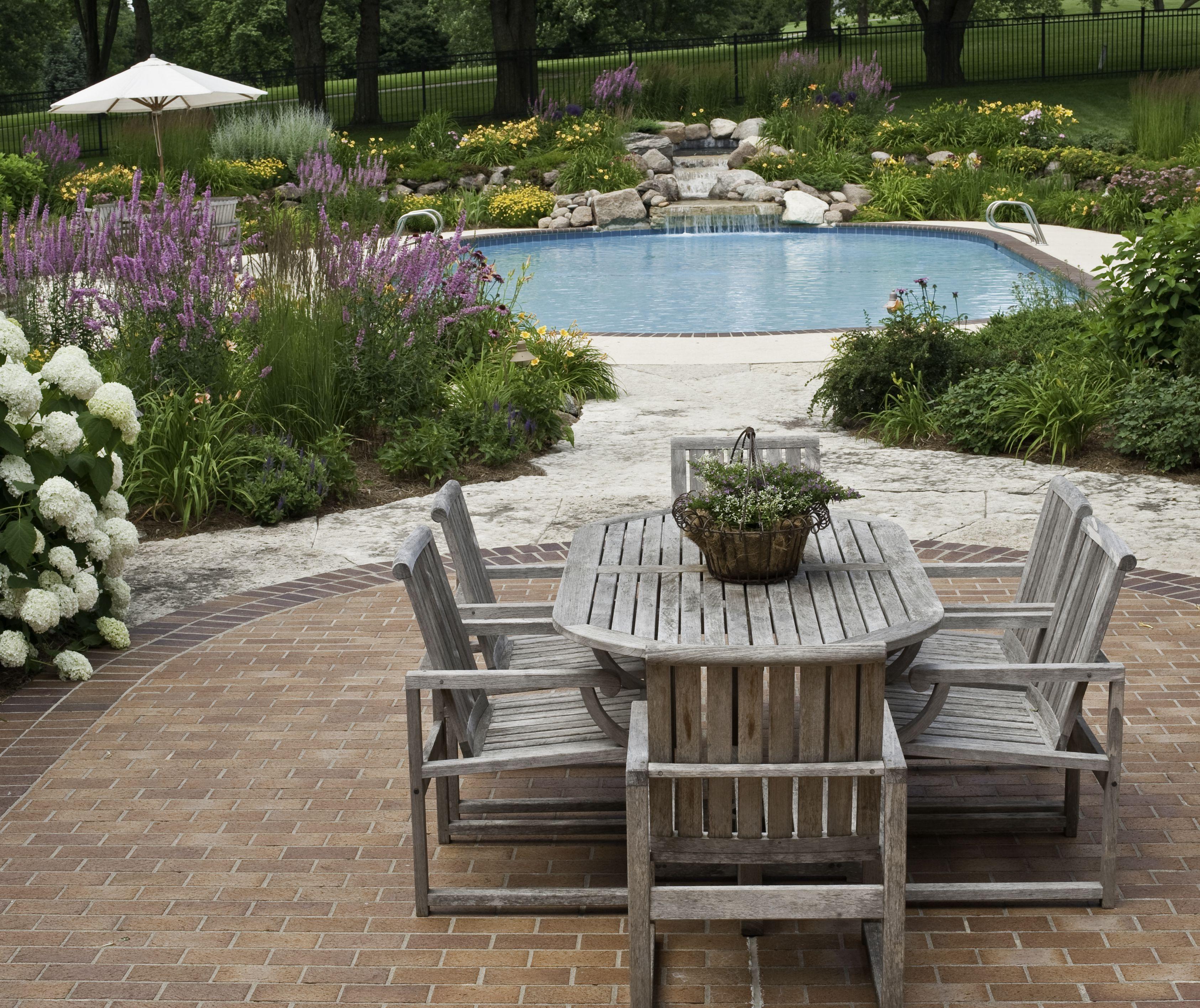brick patio near pool