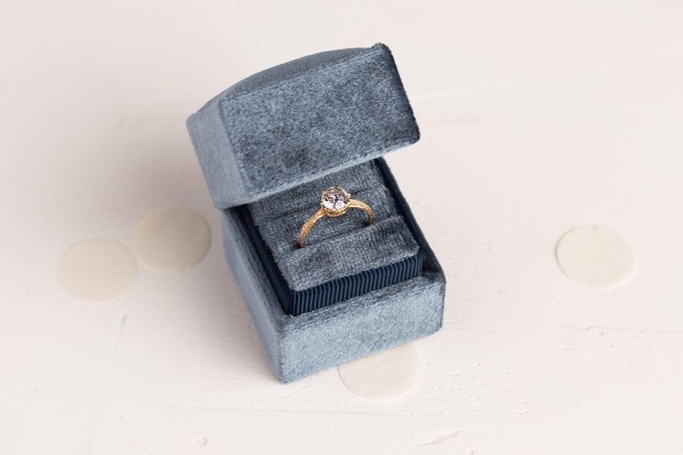 Wedding ring in blue velvet box