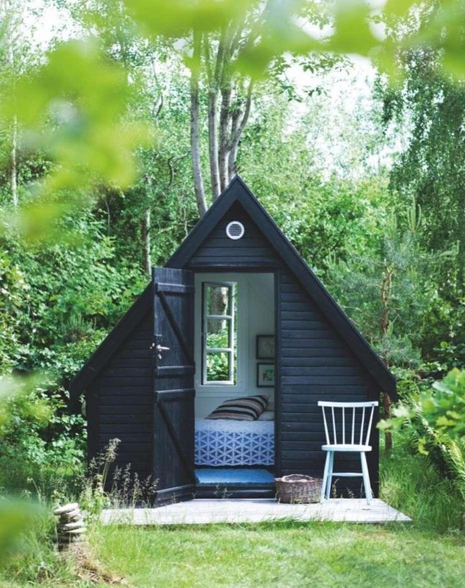 black a-frame guest house