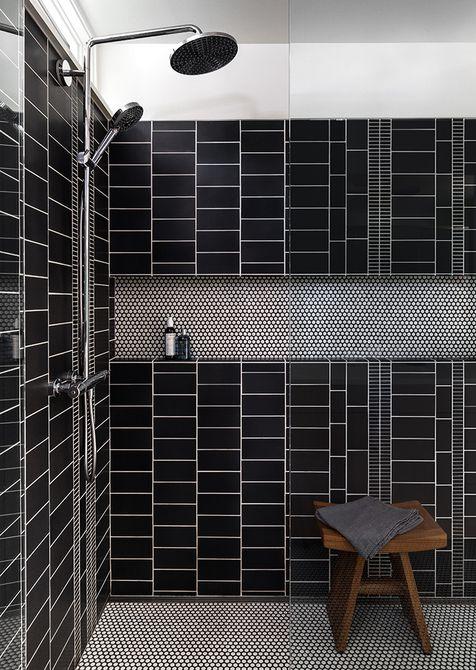 Azulejo de ducha gráfico negro