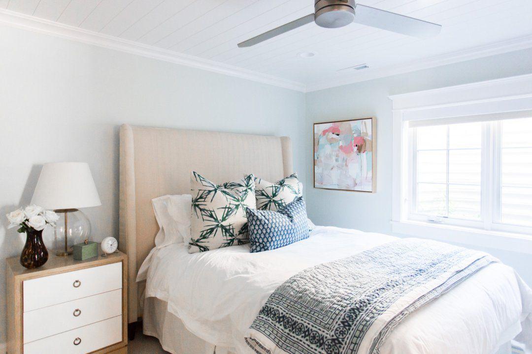 bluish gray walls in guest bedroom