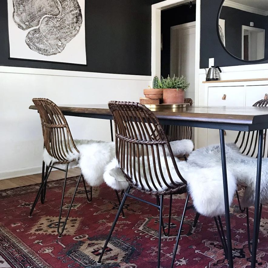 Dining room with a rug
