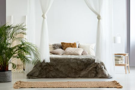 Romantic Canopy Bed, Queen Size Canopy Bed With Curtains