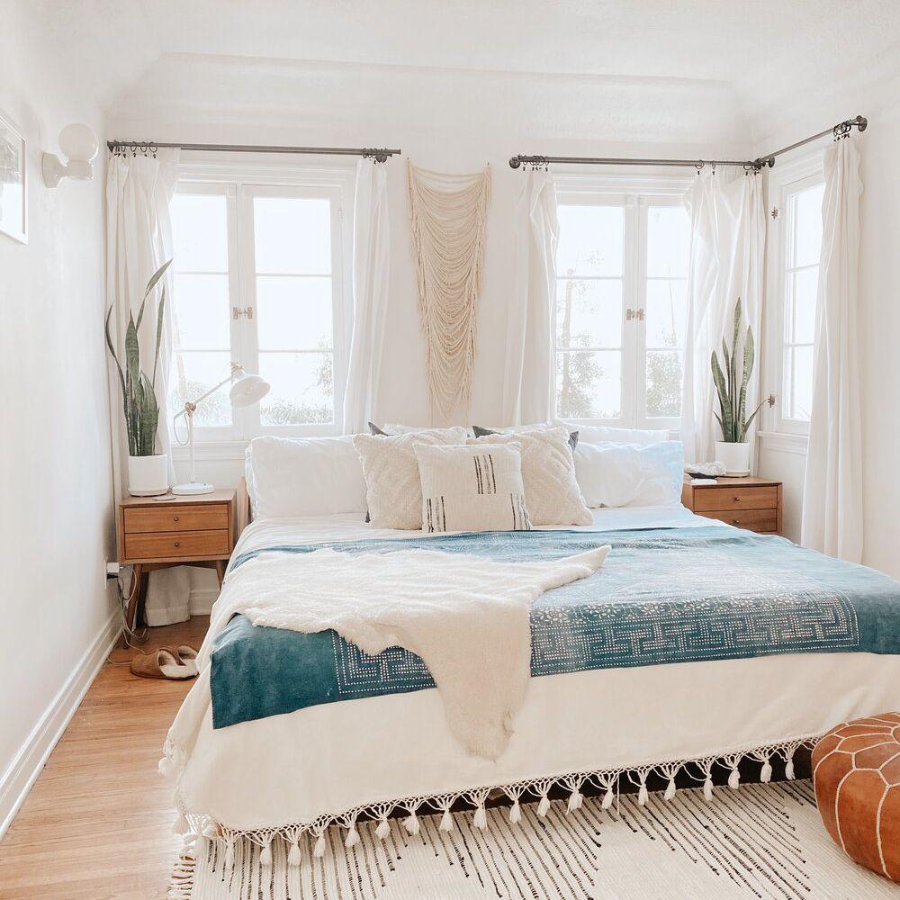 cozy bedroom with textiles