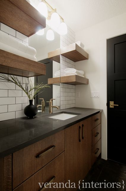 Wooden Bathroom Shelf