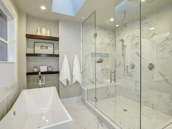 Modern bathroom with marble shower stall