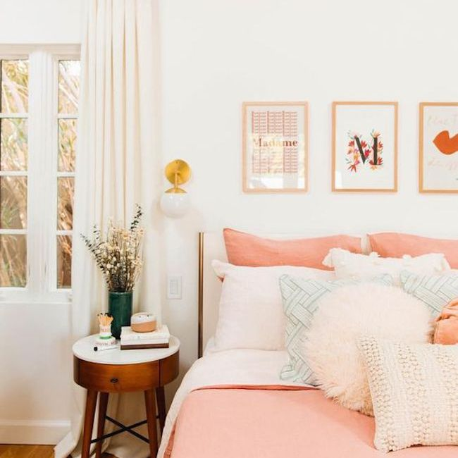 Bedroom with coral bedspread