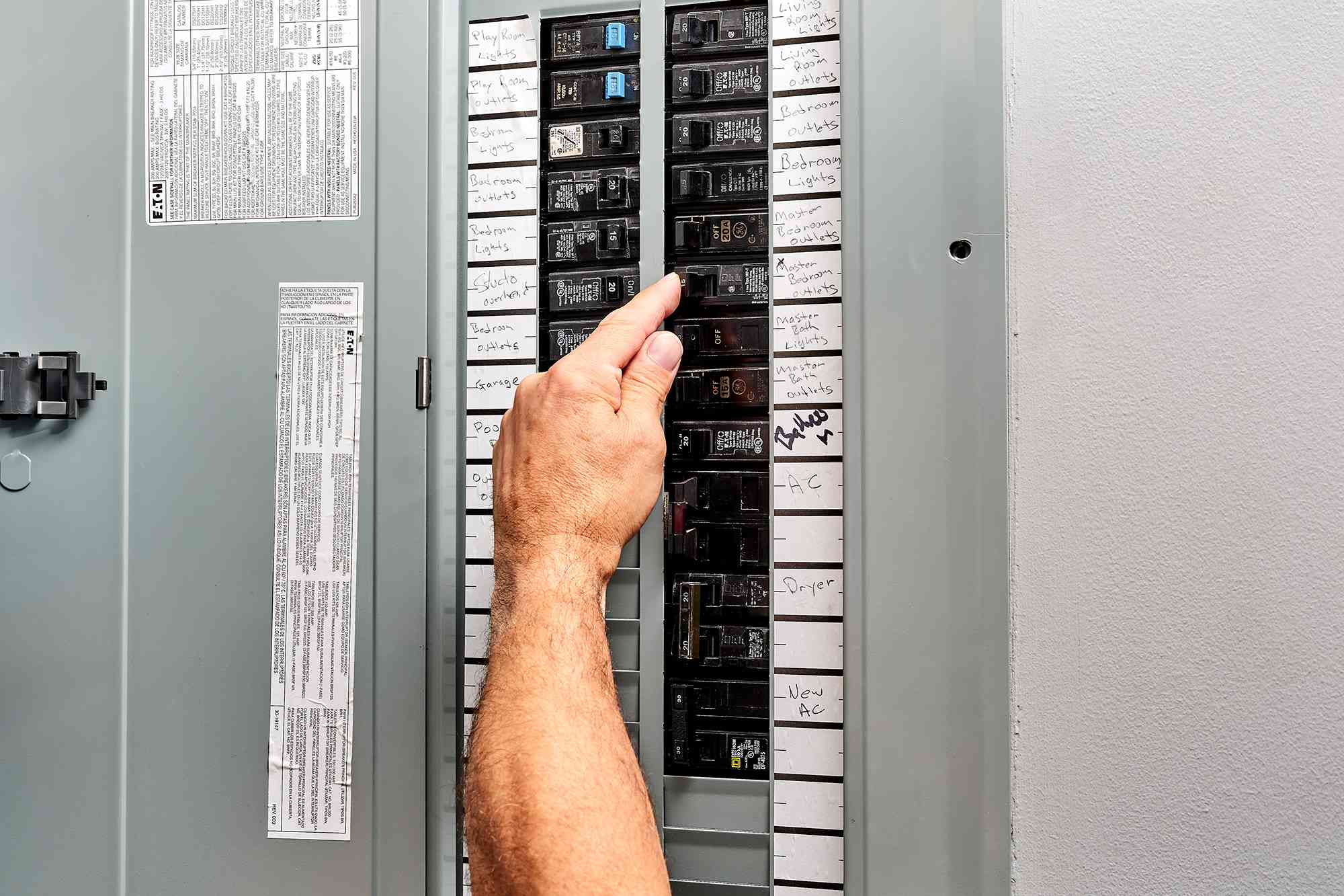 Circuit breaker panel power switched off