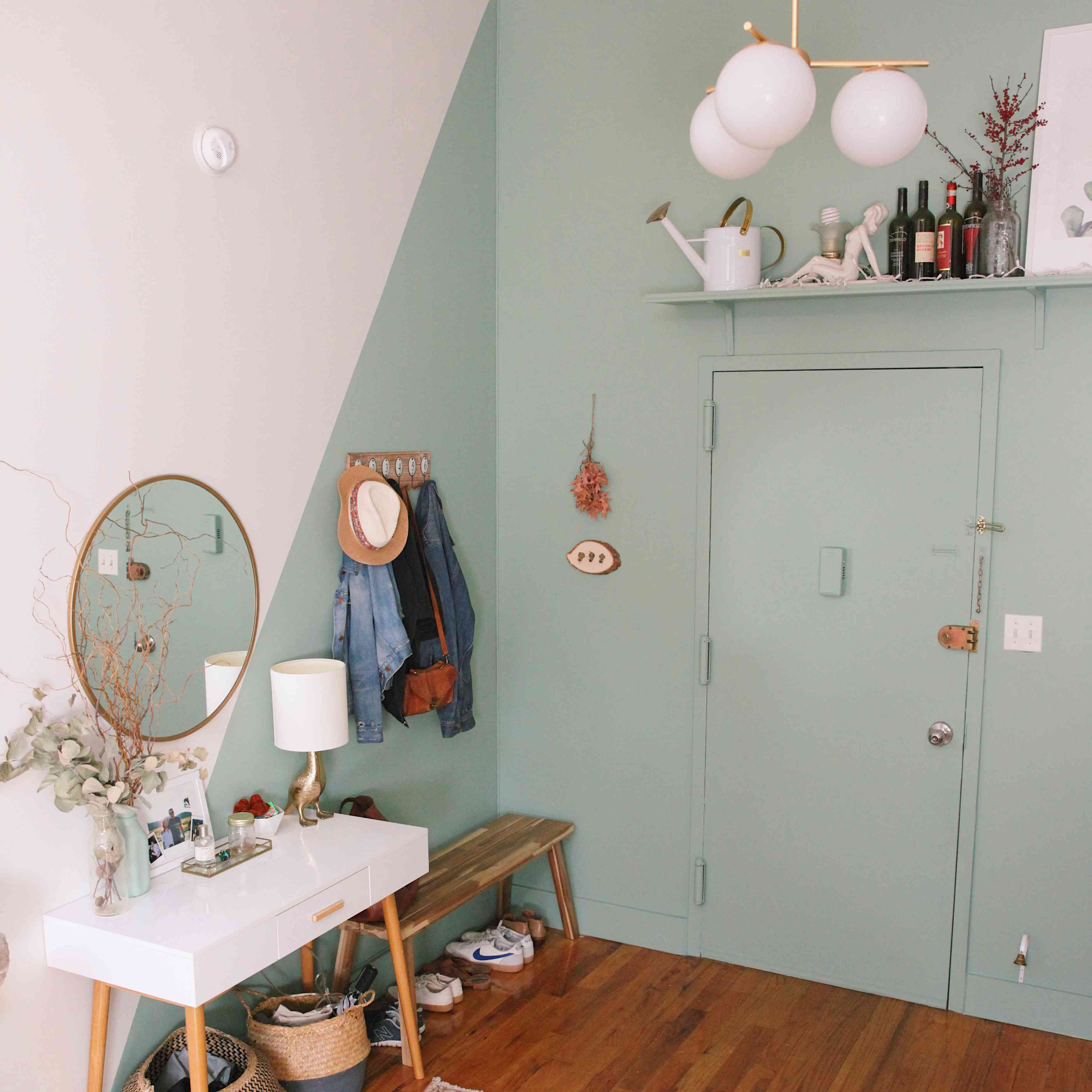 apartment entryway painted mint