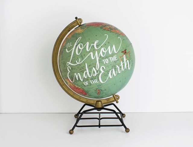 Vintage globe with hand-painted message