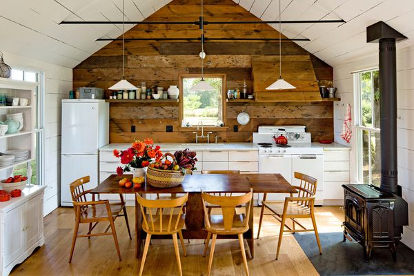 Rustic Wood feature wall in a tiny home