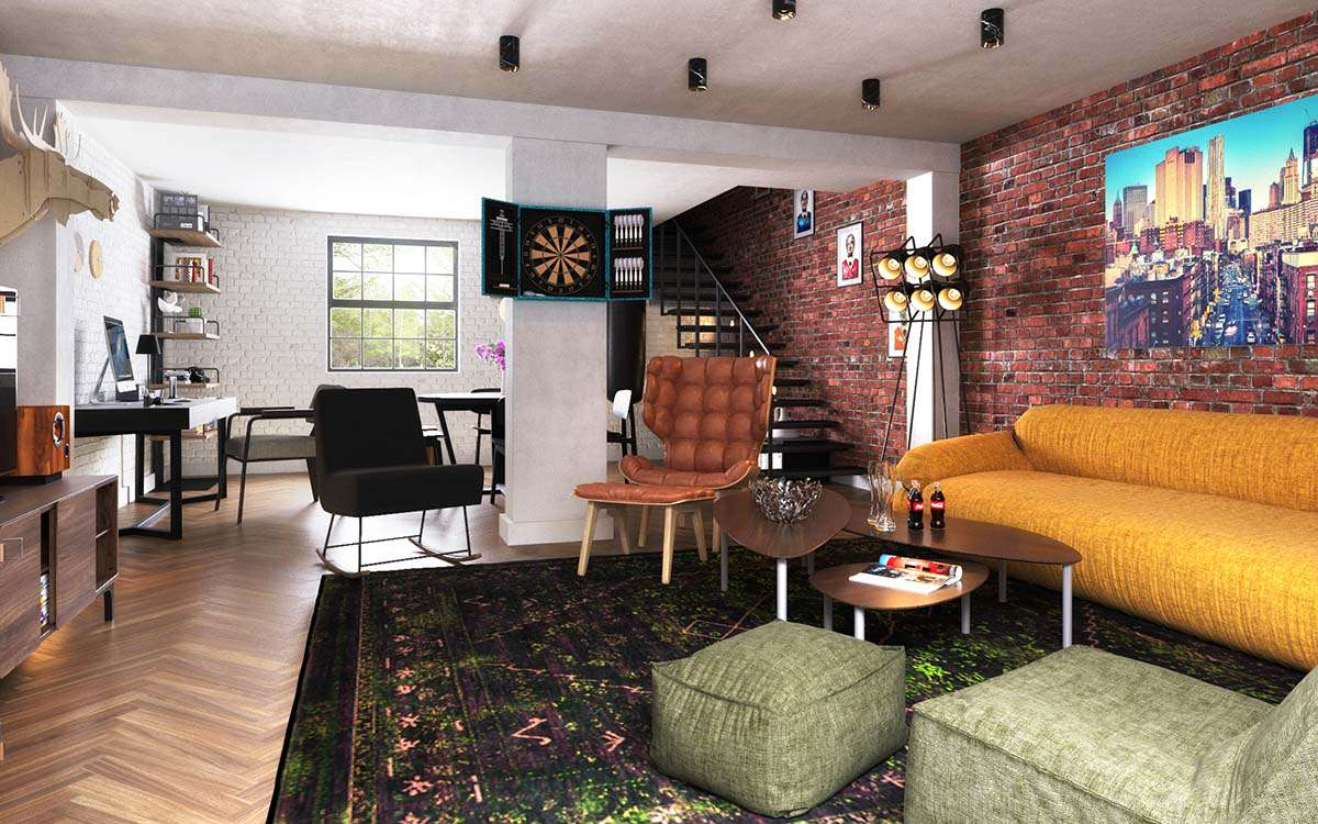 Brick wall focal point in London apartment