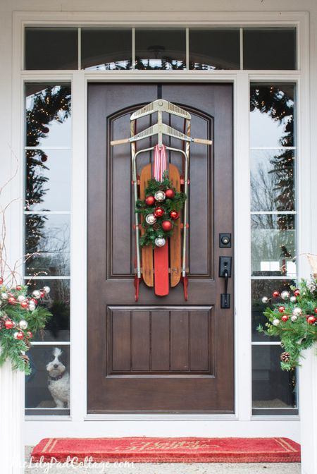 hang a sled sled decor - How To Decorate Your Door For Christmas