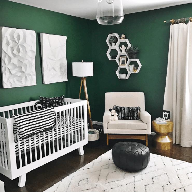 Modern, black, white, and green nursery
