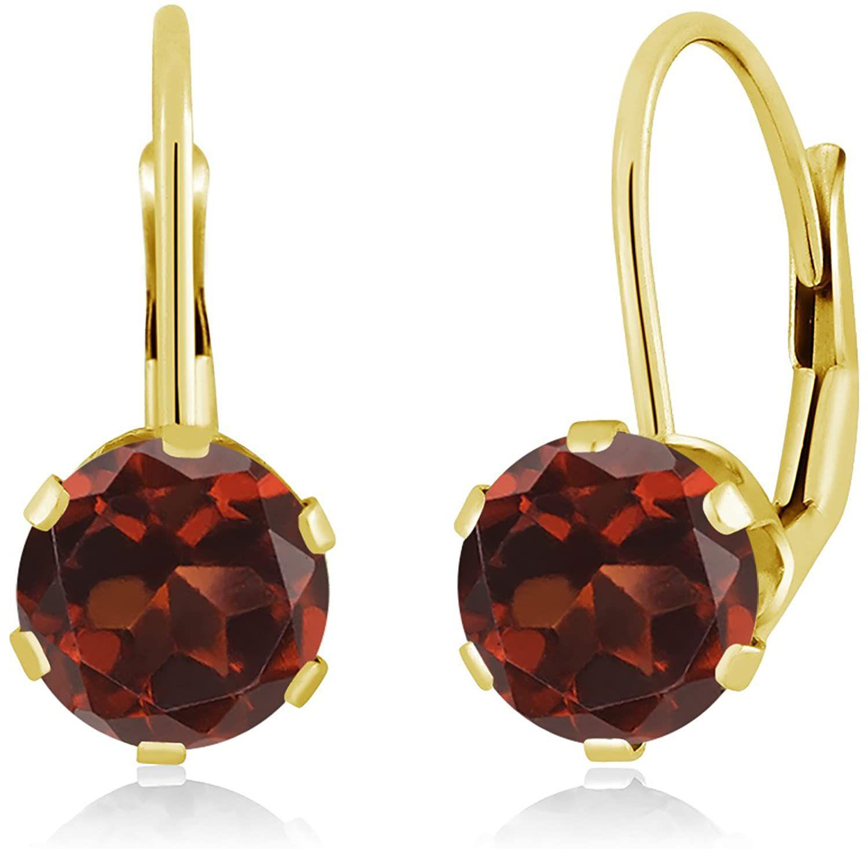 Gem Stone King Red Garnet 14K Yellow Gold Women's Earrings