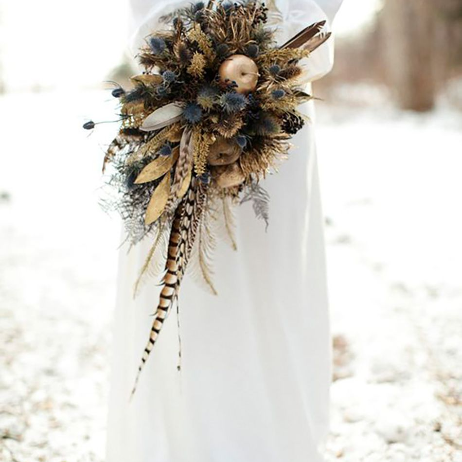 Feathers and Thistle Winter Wedding Bouquet
