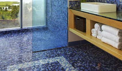 Contemporary bathroom with mosaic tiled shower