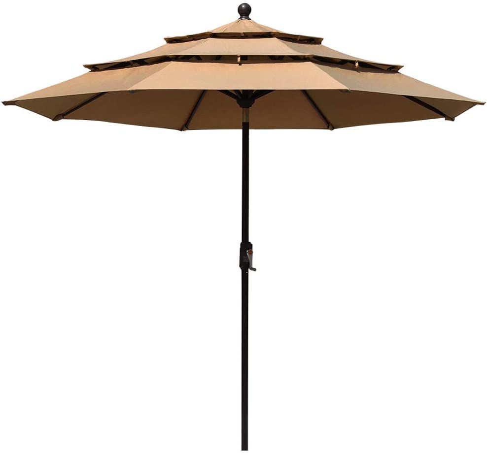 EliteShade Sunbrella 9Ft 3-Tier Market Umbrella