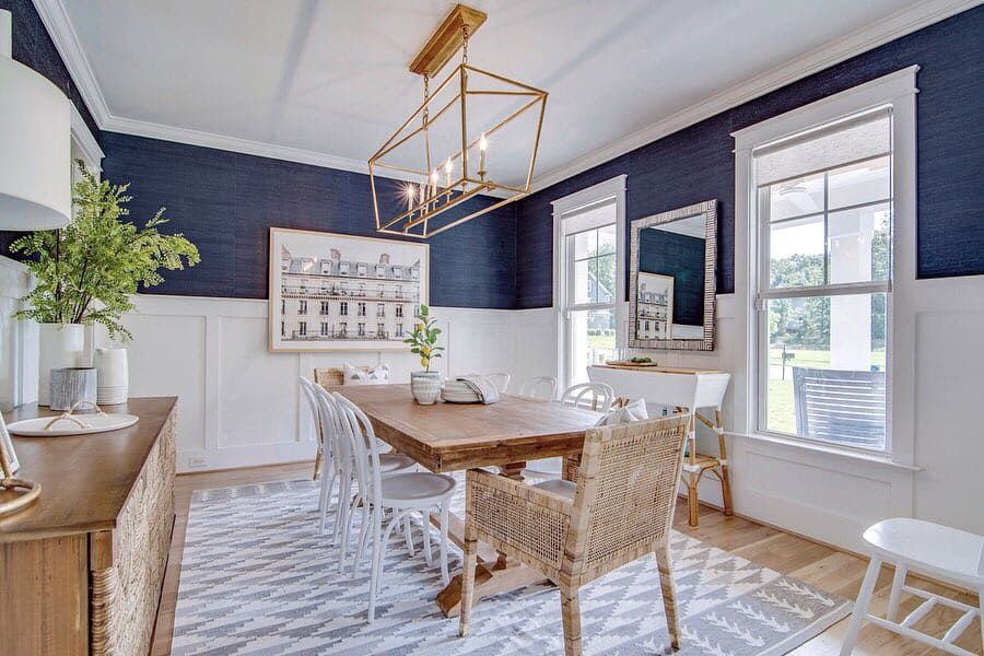 coastal dining room with parisian touches