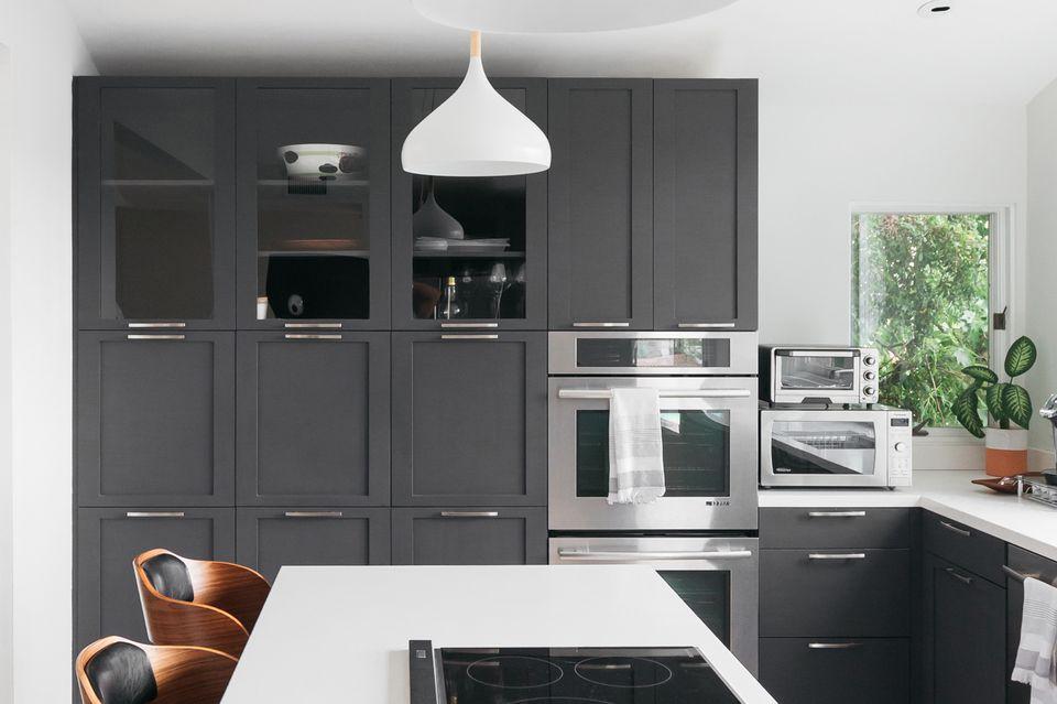 dark gray cabinets in a kitchen