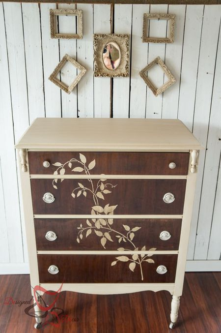 Stencil A Design On The Drawers Stenciled Wooden Dresser