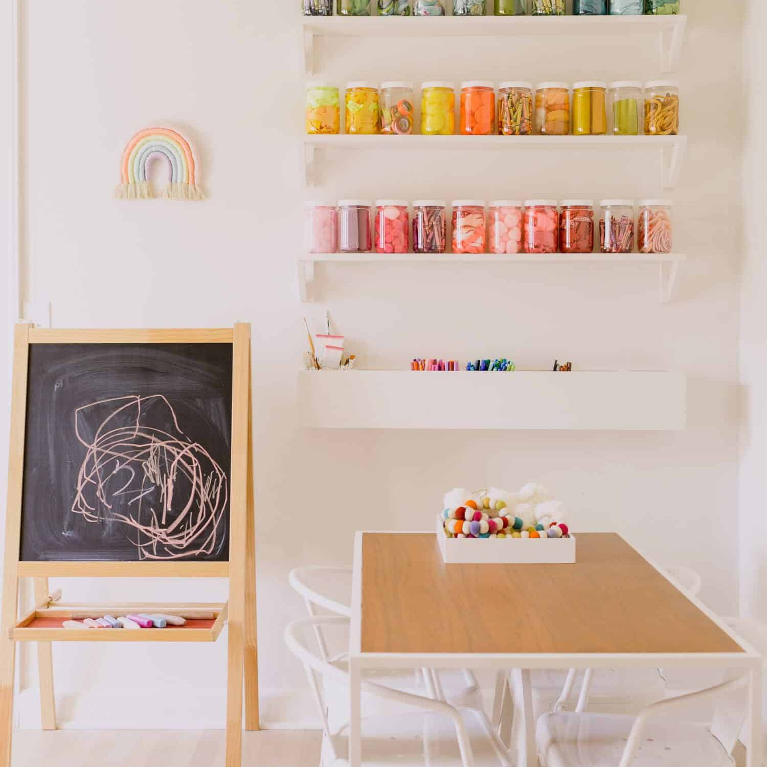 Colorful art supplies in a playroom
