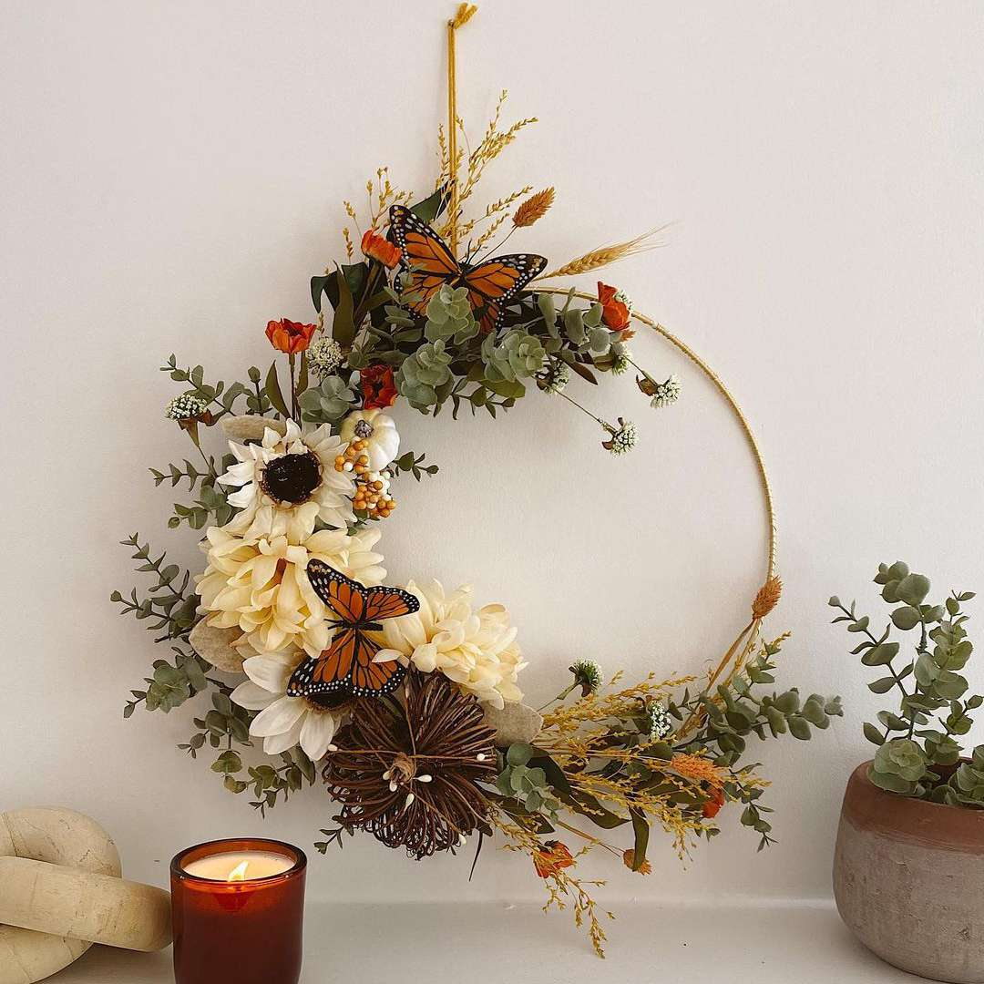 an autumnal wreath is an easy way to add fall decor to your home