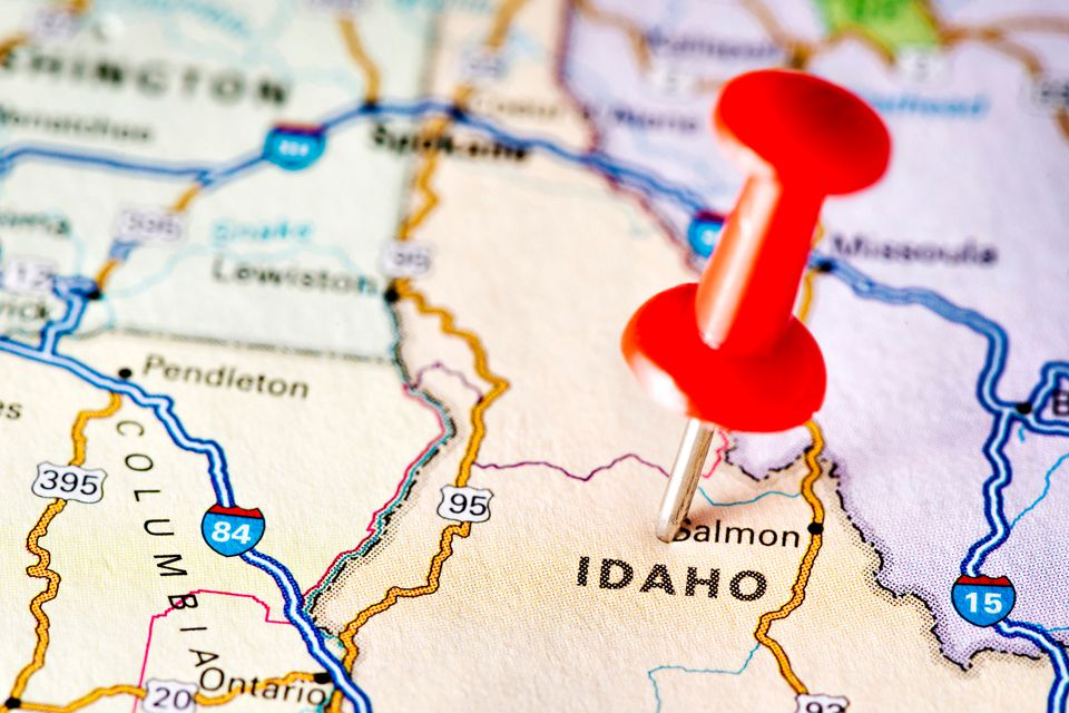 Idaho on a map